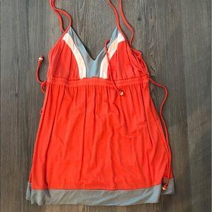 ella moss orange/cream/grey tank top, small